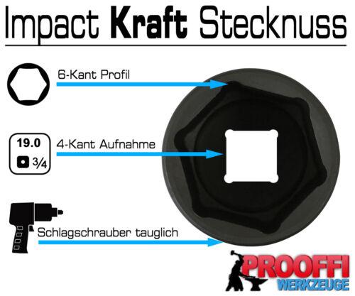 """KRAFT Power Schlagschrauber Nuss 3//4/"""" Stecknuss 52 mm Steckschlüssel 6-Kant Lang"""