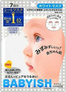 Kose-Clear-Turn-Babyish-White-Mask-With-Chamomile-extract-7-Sheets-F-S-Japan