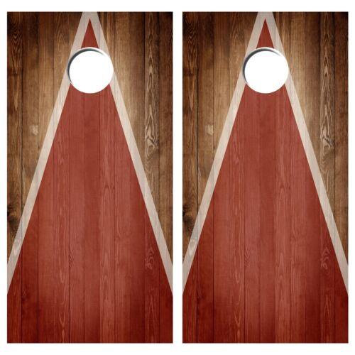 Cornhole Board Vinyl Decal Wraps Vintage Wood Triangle Bag Toss Set of 2 Baggo
