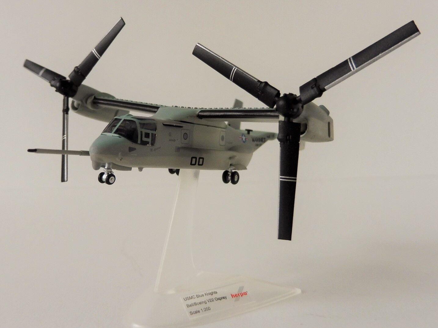 Bell Boeing mv-22b U.S. MARINE CORPS blu Knights 1 200 Herpa 558549 v-22 Osprey