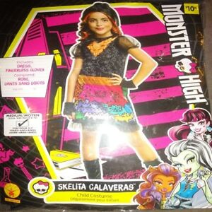 Monster-High-Halloween-Party-Costume-Dress-Skelita-Calaveras-Girl-039-s-Medium-8-10
