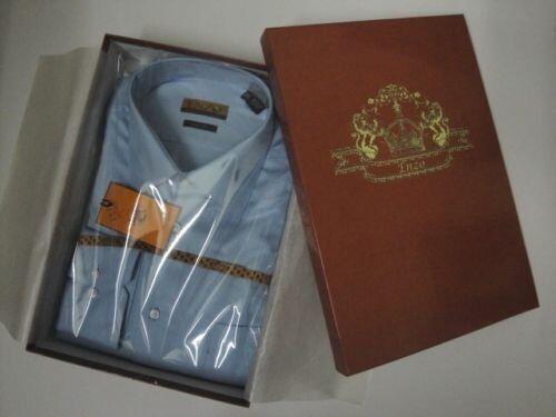 ENZO MEN'S ITALY DRESS SHIRT blueE TWILL WITH BARREL CUFFS   XL   17   36 37
