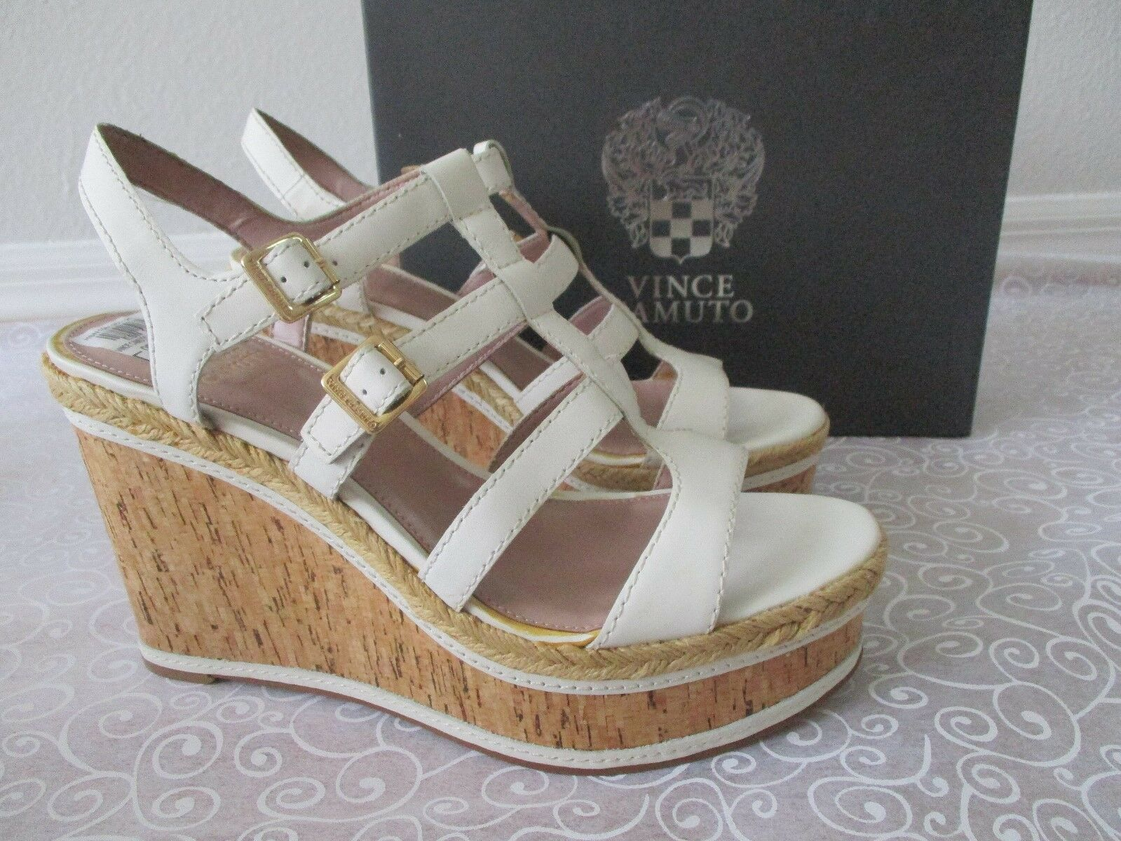 $99 VINCE CAMUTO OFF WHITE LEATHER WEDGE STRAPPY SHOES SIZE 11 M - NEW
