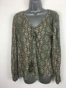 WOMENS-HOLLISTER-OLIVE-GREEN-PATTERNED-LONG-SLEEVE-SMOCK-STYLE-TOP-BLOUSE-SIZE-M
