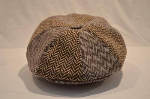 Mens  WOOL GREY HERRINGBONE BROWN ZIG-ZAG 8-PANEL BAKER BOY HAT CAP