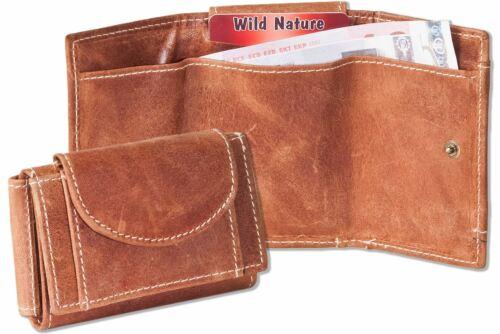 Cognac Büffelleder Schlüsseltasche mit Kette Wild Nature Mini Geldbörse