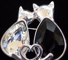 NWT PET FRIENDS HEART LOVE FRIENDSHIP BLACK GREY CAT KITTEN PIN BROOCH JEWELRY
