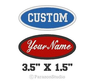 Custom-Embroidered-Name-Tag-Oval-Patch-Motorcycle-Biker-Badge-3-5-034-X-1-5-034