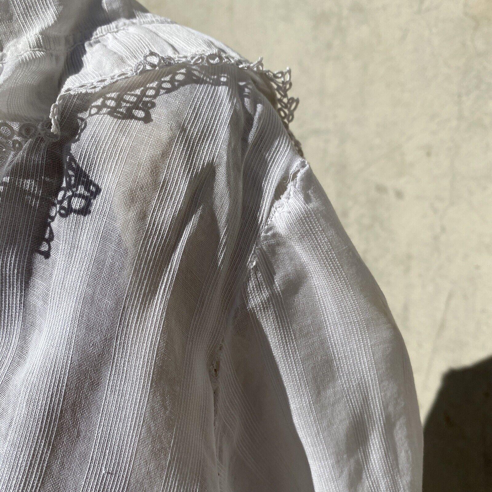 Antique Edwardian White Cotton Tea Dress Maxi Lac… - image 7