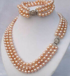 7-8mm pink akoya cultured pearl necklace bracelet earring set 18/""
