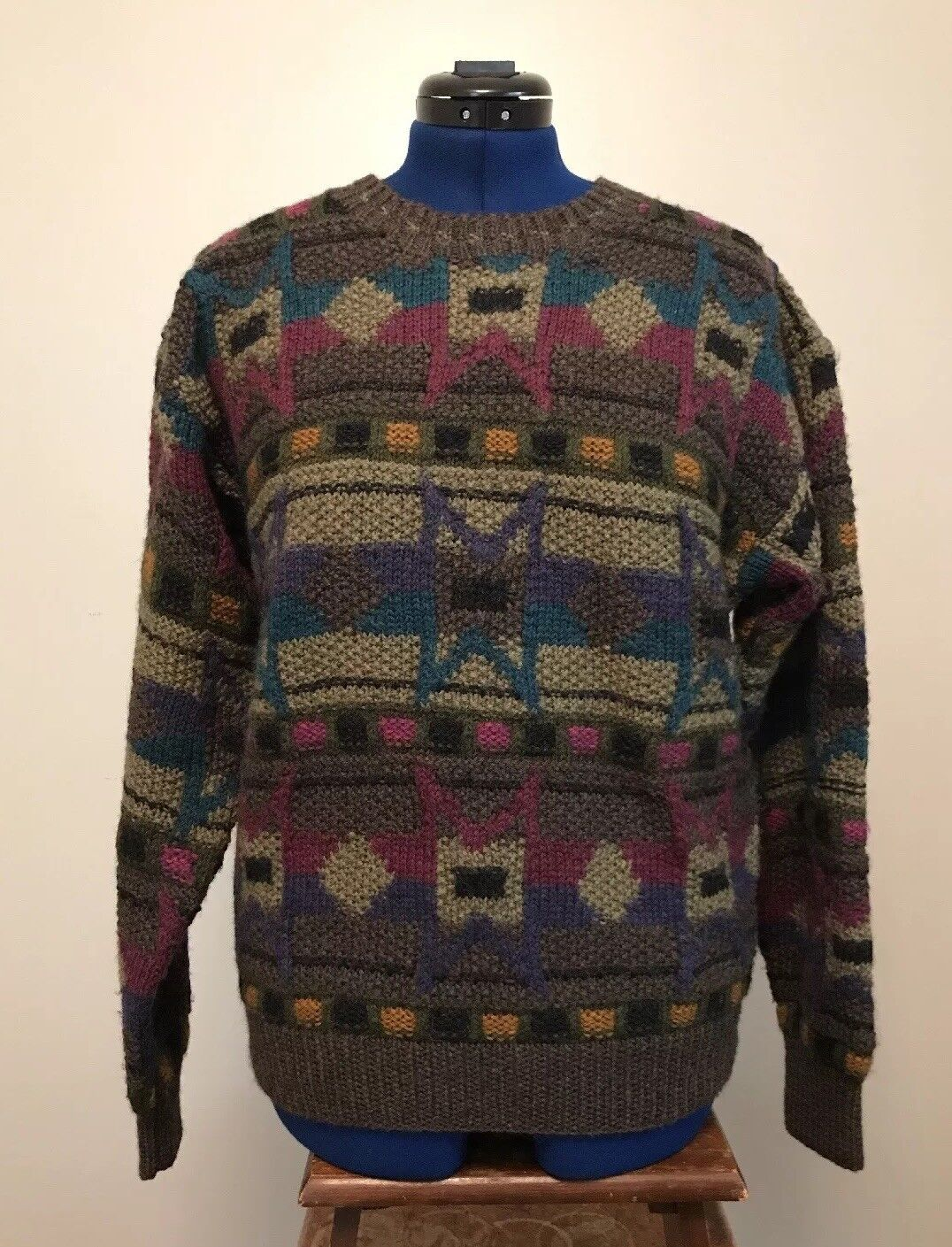 100% Wool KNIT Heavy sweater SALE  Limited Edition fisherman -BOSTON TRADERS
