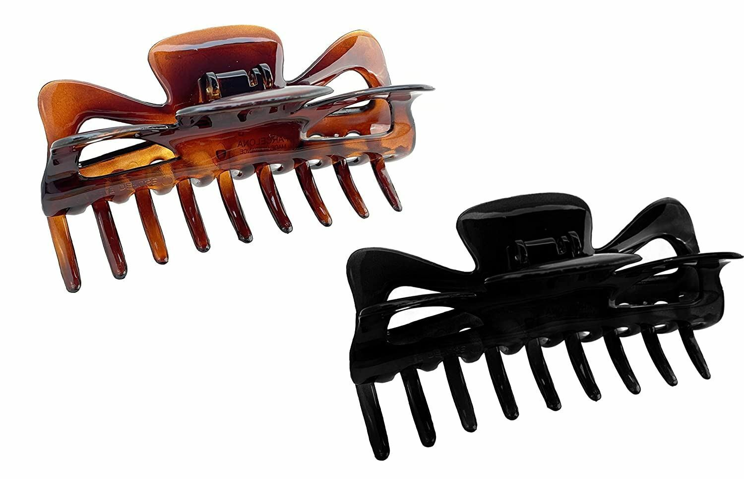 """Parcelona French Classic Tortoise Shell and Black Large 4 ¼"""" Celluloid Set of 2"""