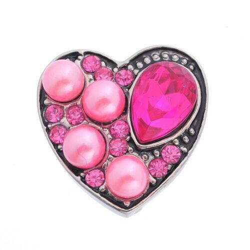 1 Bouton Pression Coeur Perle Strass Pour Bracelet Personnalisé 20x20mm M4397