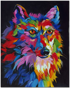 Details About Hand Painted Wolf Oil Painting Modern Impressionist Colorful Animal Art