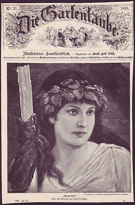 Willensstark Gabriel Max - Requiem - Original Alter Druck - Gartenlaube - 1898 - Old Print