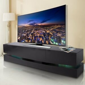 70 Inch Tv Stand Led Lights Wall Mount Entertainment Stand W 3 Large
