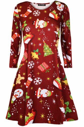 Kids Girls Christmas Xmas Aztec Print Kissing Reindeer Snowflakes Swing Dress