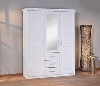 Armoire penderie dressing rangement chambre miroir 3 portes pin massif BLANC