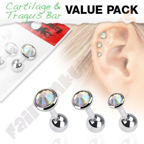 Surgical Steel Tragus//Cartilage Stud with Aurora Borealis Gem Top 3 Piece Pack