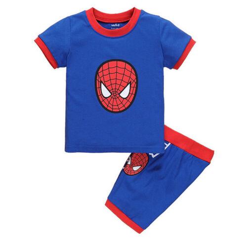 Toddler Kid Boy Superhero Pajamas Set Tops Shorts Sleepwear Clothes Outfits 1-8Y
