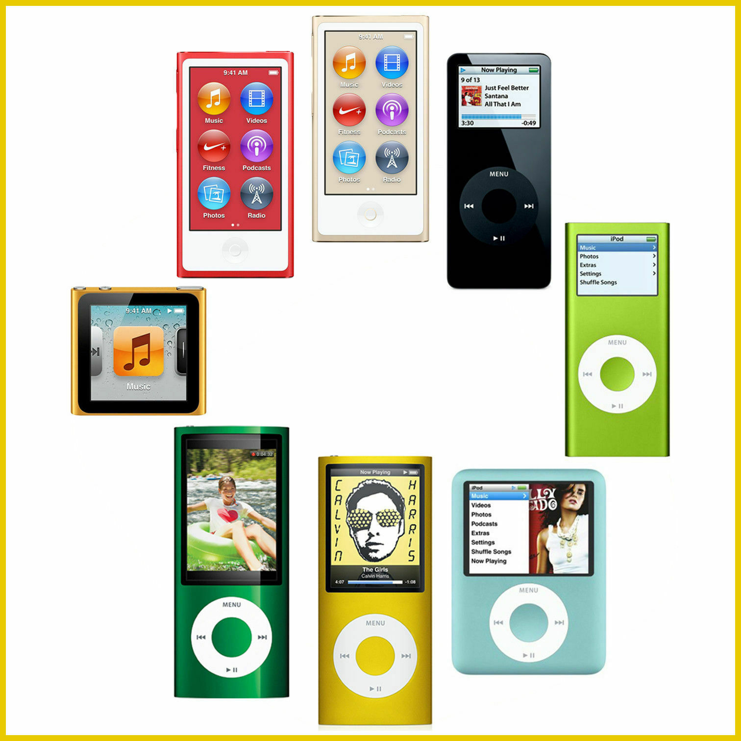 8GB 8th Generation//4GB Apple iPod Nano 1st 5th 7th 16GB 2nd 4th 3rd 6th