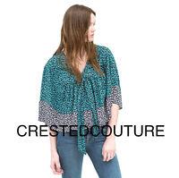 Zara Lookbook Printed Hippie Boho Festival Top Shirt Turquoise Multi M-l