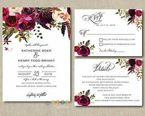 100 Personalized Wedding Invitations Boho Burgundy Maroon Floral