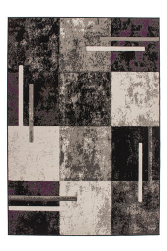 Tapis Flachflor Vintage Design Patchwork chiné Crème Marron Gris Noir