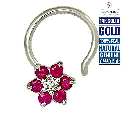 Diwani Real Ruby Diamond Flower 14k Gold Nose Nefertiti Piercing