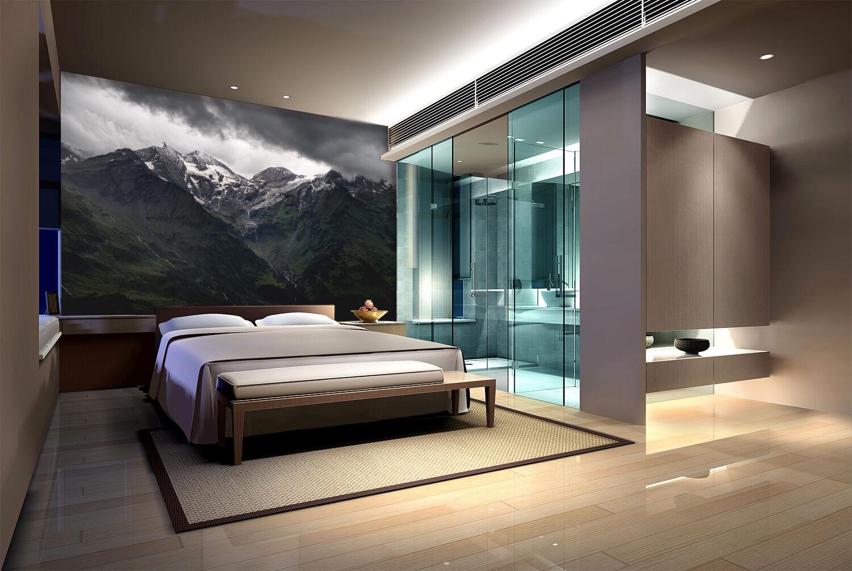 3D Montagne Nuit Photo Papier Peint en Autocollant Murale Plafond Chambre Art