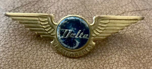 VINTAGE-DELTA-AIRLINES-CAP-HAT-STEWARDESS-WING-PIN-1960-s