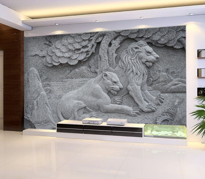 3D Lion relief pattern Wall Paper wall Print Decal Wall Deco Indoor wall Mural