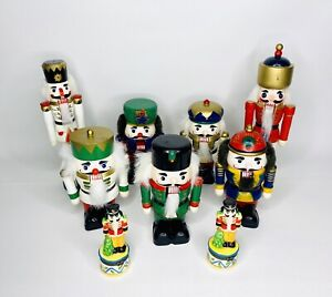 Lot-of-9-Nutcrackers-Tall-Chunky-Wood-amp-Porcelain-Trinket-Boxes-Christmas-Decor