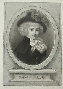 Adroit Gravure Madame Thérésa Cabarrus Tallien Salonnière Révolution Française C1800 Performance Fiable