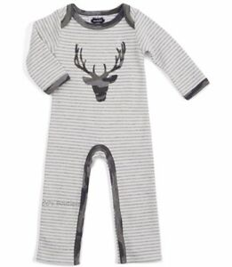 Boys-MUD-PIE-boutique-romper-0-6-amp-6-9-NWT-deer-applique-outfit-gray-camo-outfit