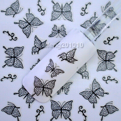 3D Black Lace Butterfly Nail Art Stickers Decals For Nail Tips Decoration H001