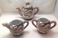 Dragon, Kutani Dragonware Moriage Hand Painted Tea Set w/ Raised Dragon (4pcs)
