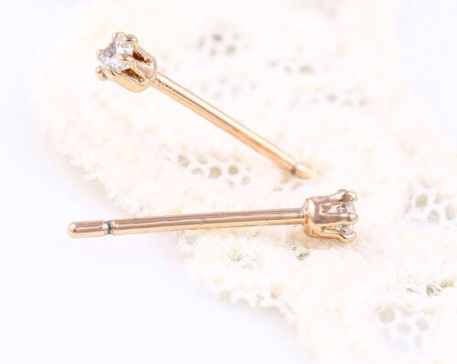 "2,4 mm Gift/"" 9k 9ct Rose /""GOLD FILLED/"" Ladies White Stones Pin stud Earrings"