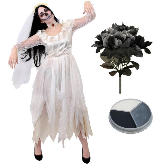 HALLOWEEN GHOST BRIDE GIRLS FANCY DRESS /& VEIL 7-8 YEARS BNIW