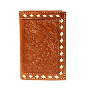 Buckstitch-TOOLED-Leather-CROSS-Nocona-Tri-Fold-RODEO-WALLET-Checkbook-N54610