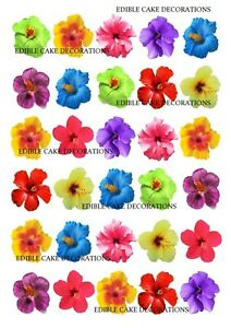 30 Hibiscus Flower Mixed Colours Cupcake Cake Topper