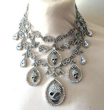 Butler and Wilson Clear Crystal Skull Gala Necklace NEW