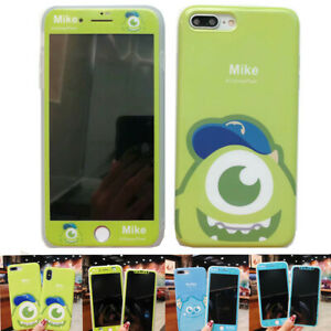 Set Disney Sulley Case fr iPhone Xs Max X 8 7 360 Full Cover + Front Glass Film