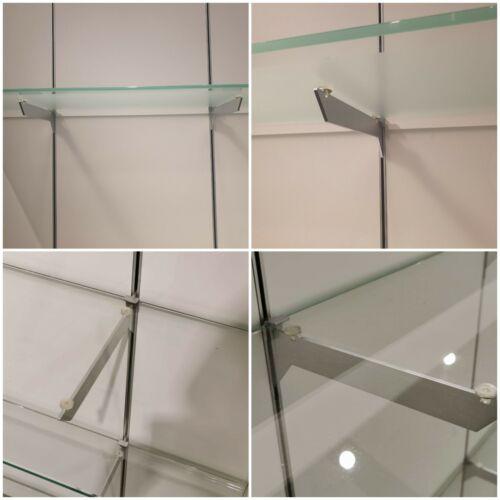 Regalträger Glasböden Regalsystem Glashalterung Glasablage Regalboden 2×Stk