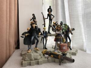 9PS/set One Piece Figure Black Armed Straw hat Pirates Luffy Nami Zoro Anime Toy