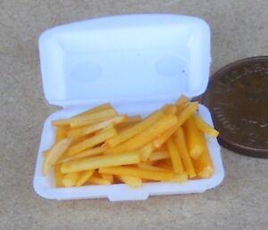 1:12 Scale Take Away Chips Frites Portion Dans Boîte En Plastique Tumdee Dolls House Food-afficher Le Titre D'origine Prix De Vente