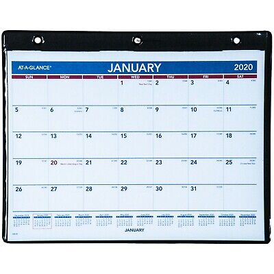 Month At A Glance Calendar 2020 2020 At A Glance SK8 00 Monthly Wall Calendar In Vinyl Holder, 11