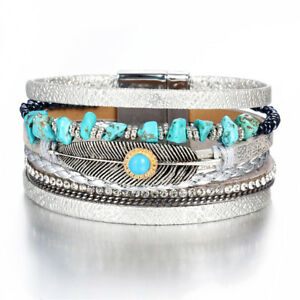 New-Turquoise-Feather-Crystal-Bead-Metal-Magnetic-Clasp-Bracelet