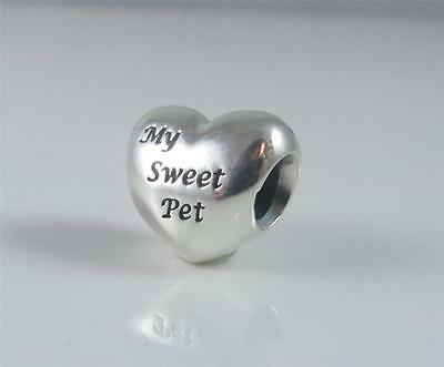 Genuine Authentic Pandora Sterling Silver My Sweet Pet Heart Charm 791262