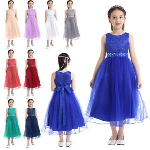 Flower-Girl-Dress-Sequin-Party-Formal-Pageant-Wedding-Bridesmaid-Communion-Gown
